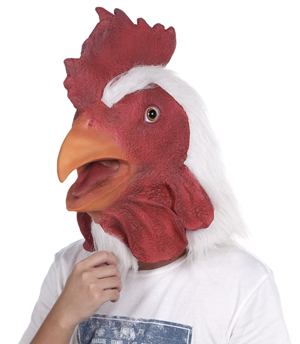 latex rooster animal head mask